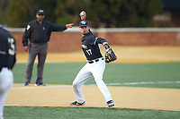 Wake Forest Demon Deacons third baseman Bruce Steel (17) makes a throw to first base against the Notre Dame Fighting Irish at David F. Couch Ballpark on March 10, 2019 in  Winston-Salem, North Carolina. The Fighting Irish defeated the Demon Deacons 8-7 in 10 innings in game two of a double-header. (Brian Westerholt/Four Seam Images)