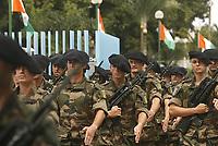 Abidjan, 7 août 2017 - 57e anniversaire de la Répubrique de Côte d'Ivoire - Défilé militaire : une troupe des Forces Armées Française en Côte d'Ivoire au palais de la Présidence au plateau. # 57E FETE DE L'INDEPENDANCE DE LA COTE D'IVOIRE