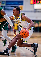 12 March 2019: University of Vermont Catamount Guard Stef Smith, a Sophomore from Ajax, Ontario, in action against the Binghamton University Bearcats at Patrick Gymnasium in Burlington, Vermont. Smith set the America East Semifinal record with eight three-pointers, finishing his historic night with a career-high 28 points, as the top-seeded Catamounts advanced to their fourth-straight AE conference championship game, defeating the Bearcats 84-51. Mandatory Credit: Ed Wolfstein Photo *** RAW (NEF) Image File Available ***