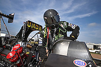 Apr. 26, 2013; Baytown, TX, USA: NHRA top fuel dragster driver Terry McMillen during qualifying for the Spring Nationals at Royal Purple Raceway. Mandatory Credit: Mark J. Rebilas-