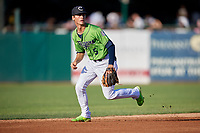 Kane County Cougars Blaze Alexander (5) during a Midwest League game against the Dayton Dragons on July 20, 2019 at Northwestern Medicine Field in Geneva, Illinois.  Dayton defeated Kane County 1-0.  (Mike Janes/Four Seam Images)