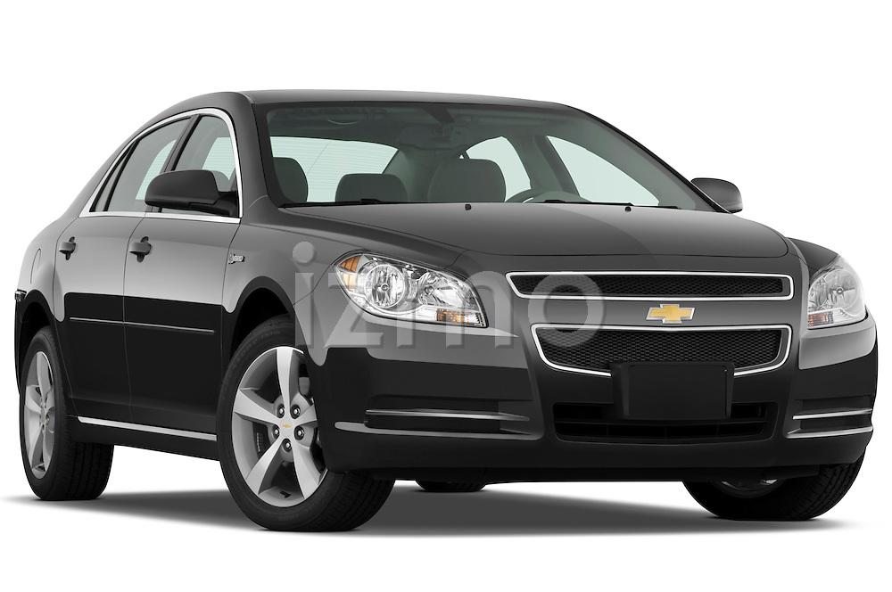 Low aggressive passenger side front three quarter view of a 2009 Chevrolet Malibu Hybrid.