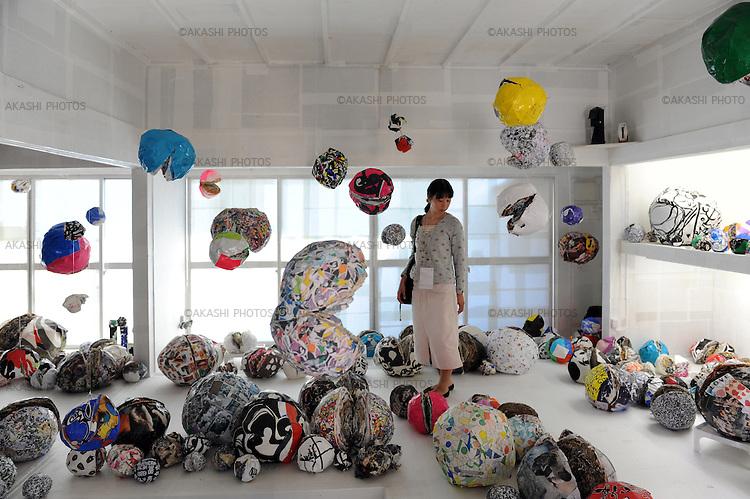Artwork in Ogijima island during the Setouchi International Art Festival. Ogijima. Kagawa prefecture. Japan.<br /> <br /> Œuvre d'art sur l'île d'Ogijima pendant le festival international d'art de Setouchi. Ogijima. Préfecture de Kagawa. Japon.