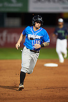Hudson Valley Renegades catcher Taylor Hawkins (15) running the bases during a game against the Vermont Lake Monsters on September 3, 2015 at Centennial Field in Burlington, Vermont.  Vermont defeated Hudson Valley 4-1.  (Mike Janes/Four Seam Images)