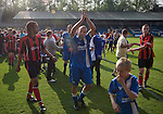 FC Halifax Town 1 Mickleover Sports 1, 23/04/2011. The Shay, Northern Premier League. Home players celebrating on the pitch at the end of the match at The Shay, home of FC Halifax Town (in blue), on the day that they were presented with the Northern Premier League Premier Division championship trophy following their match with Mickleover Sports, which ended in a 1-1 draw in front of a crowd of 2,404. The club replaced Halifax Town A.F.C. who went into administration during the 2007–08 season, having previously been members of the Football League for 80 years. Their promotion meant they would play in Conference North in the 2011-12 season. Photo by Colin McPherson.