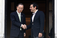 Pictured L-R: Ban Ki-Moon with Greek Prime Minister Alexis Tsipras at Megaro Maximou in Athens, Greece. Saturday 18 June 2016<br /> Re: The United Nations secretary-general is visiting Greece, ahead of talks with government officials and a trip to the island of Lesbos, which is at the forefront of Greece's immigration crisis.<br /> Ban Ki-moon met with officials and volunteers at the Solidarity Now group, which helps victims of Greece's financial crisis and migrants stuck in the country.<br /> He has also visited Greek President Procopis Pavlopoulos before travelling camps on Lesbos island where 3,400 refugees and other migrants live.