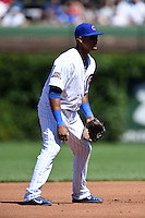 Chicago Cubs shortstop Starlin Castro (13) during a game against the Milwaukee Brewers on August 14, 2014 at Wrigley Field in Chicago, Illinois.  Milwaukee defeated Chicago 6-2.  (Mike Janes/Four Seam Images)