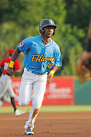 Myrtle Beach Pelicans second baseman Andruw Monasterio (16) running the bases during a game against the Carolina Mudcats at Ticketreturn.com Field at Pelicans Ballpark on June 15 , 2018 in Myrtle Beach, South Carolina. Carolina defeated Myrtle Beach 4-2. (Robert Gurganus/Four Seam Images)