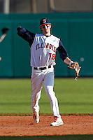Illinois Fighting Illini shortstop Thomas Lindauer #19 during a game against the Louisville Cardinals at the Big Ten/Big East Challenge at Al Lang Stadium on February 18, 2012 in St. Petersburg, Florida.  (Mike Janes/Four Seam Images)