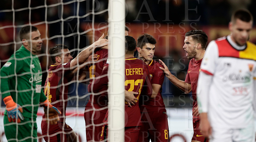 Calcio, Serie A: AS Roma - Benevento, Roma, stadio Olimpico, 11 gennaio 2018.<br /> Roma's Edin Dzeko celebrates with his teammates after scoring during the Italian Serie A football match between AS Roma and Benevento at Rome's Olympic stadium, February 11, 2018.<br /> UPDATE IMAGES PRESS/Isabella Bonotto