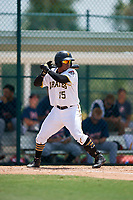 GCL Pirates catcher Gabriel Brito (15) at bat during a game against the GCL Braves on July 26, 2017 at Pirate City in Bradenton, Florida.  GCL Braves defeated the GCL Pirates 12-5.  (Mike Janes/Four Seam Images)