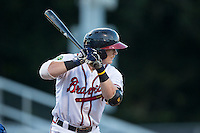 Matt Gonzalez (1) of the Danville Braves at bat against the Burlington Royals at American Legion Post 325 Field on August 16, 2016 in Danville, Virginia.  The game was suspended due to a power outage with the Royals leading the Braves 4-1.  (Brian Westerholt/Four Seam Images)