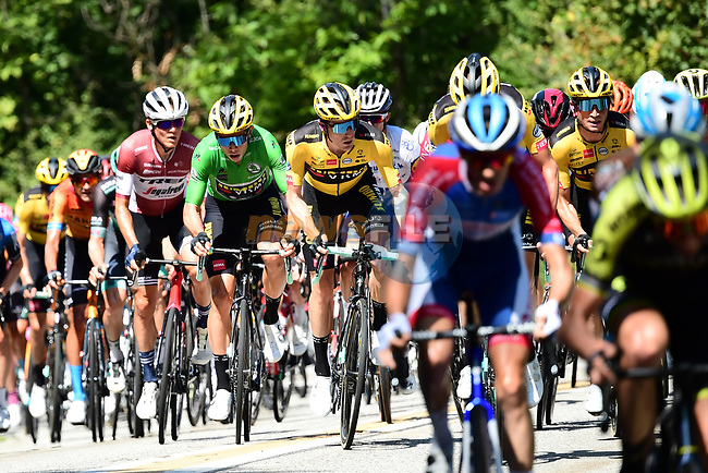 The peloton led by Team Jumbo-Visma allow the break to form during Stage 3 of Criterium du Dauphine 2020, running 157km from Corenc to Saint-Martin-de-Belleville, France. 14th August 2020.<br /> Picture: ASO/Alex Broadway | Cyclefile<br /> All photos usage must carry mandatory copyright credit (© Cyclefile | ASO/Alex Broadway)