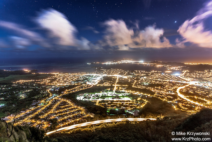 """An aerial view of Kaneohe at night from Haiku Stairs (""""Stairway to Heaven"""") hiking trail in Kaneohe, Oahu"""