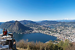 Switzerland, Ticino, view from Monte Bre across Lago Lugano and Lugano city with Monte San Salvatore   Schweiz, Tessin, Blick vom Monte Bre auf Lugano am Luganer See mit dem Hausberg Monte San Salvatore