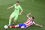 Atletico de Madrid's Saul Niguez (r) and Juventus' Stephan Lichtsteiner during Champions League 2014/2015 match.October 1,2014. (ALTERPHOTOS/Acero)