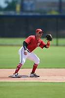 GCL Nationals second baseman Anthony Gomez (3) during a Gulf Coast League game against the GCL Astros on August 9, 2019 at FITTEAM Ballpark of the Palm Beaches training complex in Palm Beach, Florida.  GCL Nationals defeated the GCL Astros 8-2.  (Mike Janes/Four Seam Images)