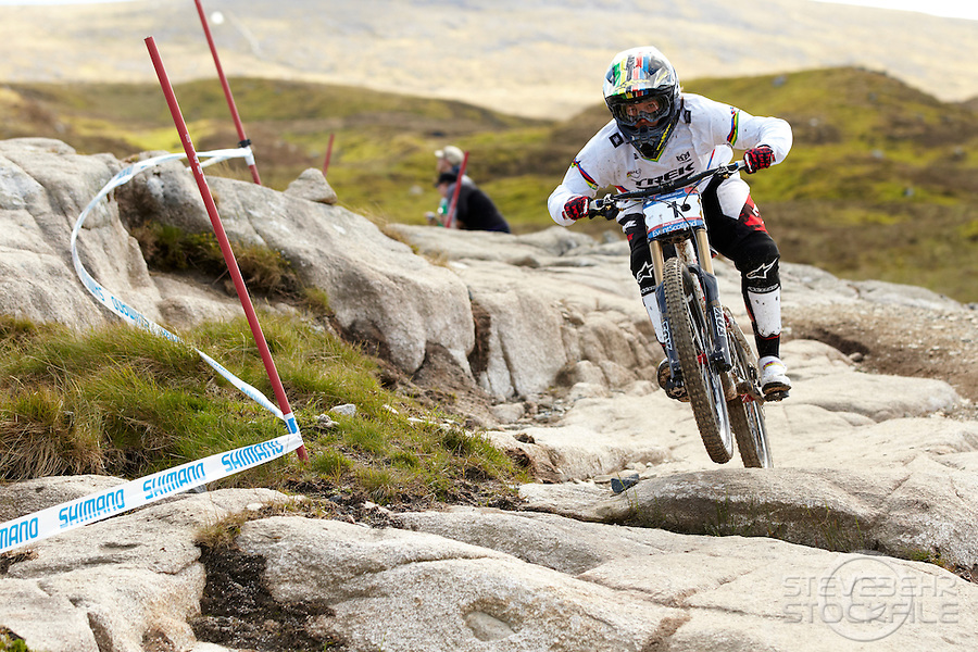 Tracy Moseley racing downhill on a Trek bike , Fort William World Cup , Scotland , June 2011 , pic copyright Steve Behr / Stockfile