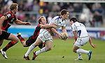 Andrew Conway looks for support as Will Harries makes the tackle..RaboDirect Pro 12.Newport Gwent Dragons v Leinster..05.05.12.©Steve Pope-Sportingwales