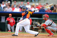 Houston Astros catcher Rene Garcia #69 at bat in front of catcher Rob Johnson #32 during a Spring Training game against the St. Louis Cardinals at Osceola County Stadium on March 1, 2013 in Kissimmee, Florida.  The game ended in a tie at 8-8.  (Mike Janes/Four Seam Images)