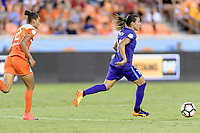 Houston, TX - Saturday June 17, 2017: Marta Vieira Da Silva races towards the Houston goal with the ball in front of Poliana during a regular season National Women's Soccer League (NWSL) match between the Houston Dash and the Orlando Pride at BBVA Compass Stadium.
