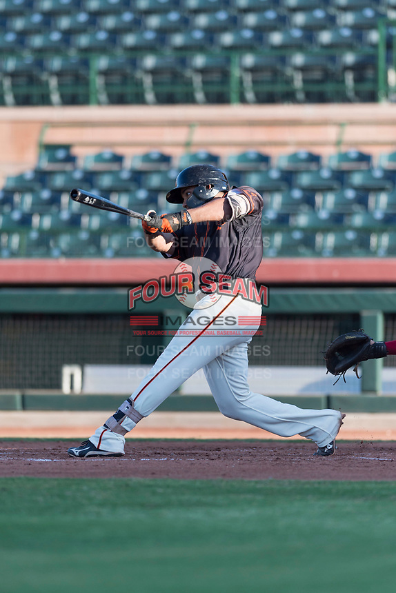 AZL Giants Orange right fielder Franklin Labour (49) swings at a pitch during an Arizona League game against the AZL Rangers at Scottsdale Stadium on August 4, 2018 in Scottsdale, Arizona. The AZL Giants Black defeated the AZL Rangers by a score of 3-2 in the first game of a doubleheader. (Zachary Lucy/Four Seam Images)
