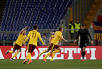 Calcio, Europa League, ritorno degli ottavi di finale: Lazio-Sparta Praga. Roma, stadio Olimpico, 17 marzo 2016.<br /> Sparta Praha's Borek Dockal, right, celebrates after scoring during the round of 16 second leg soccer match between Lazio and Sparta Praha, at Rome's Olympic Stadium, 17 March 2016.<br /> UPDATE IMAGES PRESS/Isabella Bonotto