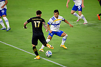 LOS ANGELES, CA - SEPTEMBER 02: Nick Lima #24 of the San Jose Earthquakes defends against an advancing Brian Rodriguez #17 of LAFC during a game between San Jose Earthquakes and Los Angeles FC at Banc of California stadium on September 02, 2020 in Los Angeles, California.