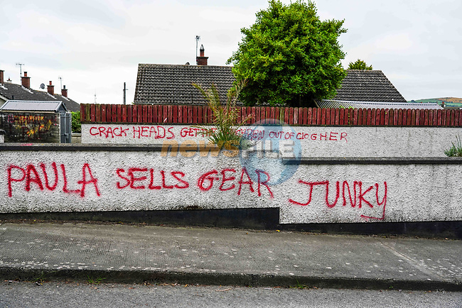 Graffiti on walls on the Chapel Road in Clogherhead. 18/05/2020.<br /> Picture Thos Caffrey / Newsfile.ie<br /> <br /> All photo usage must carry mandatory copyright credit (© Newsfile | Thos Caffrey)