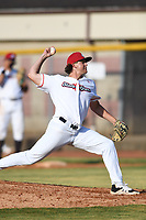 Bristol State Liners pitcher Corbin Barker (55) (Delta) during a game against the Kingsport Axemen on June 13, 2021 at Boyce Cox Field in Bristol, Virginia. (Tracy Proffitt/Four Seam Images)