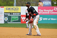 First Basemen (35) Kennys Vargas of the New Britain Rock Cats gets ready in the field during a game against the Trenton Thunder at New Britain Stadium on May 7, 2014 in New Britain, Connecticut.  Trenton defeated New Britain 6-4.  (Gregory Vasil/Four Seam Images)