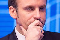 EMMANUEL MACRON ASSISTE AU FORUM DE LA FEDERATION NATIONALE DES TRAVAUX PUBLICS, LE 23 FEVRIER 2017 A PARIS.