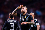 Nicolas Otamendi of Argentina celebrating his score during the International Friendly 2018 match between Spain and Argentina at Wanda Metropolitano Stadium on 27 March 2018 in Madrid, Spain. Photo by Diego Souto / Power Sport Images
