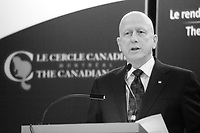 March 25, 2013 - Montreal, Quebec,  CANADA - Michael E. Roach, President & CEO of CGI, at the Canadian Club of Montreal's podium.<br /><br />Photo : (c) Pierre Roussel