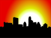Austin Skyline Silhouette Scalable Vector Graphic during early morning sunrise.