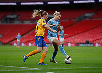 1st November 2020; Wembley Stadium, London, England; Womens FA Cup Final Football, Everton Womens versus Manchester City Womens; Lucy Graham of Everton Women challenges Steph Houghton of Manchester City Women