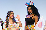 (L to R) Ally Brooke and Normani Hamilton, members of the American five-piece girl group Fifth Harmony attend a fan event on July 9, 2016, in Tokyo, Japan. Fifth Harmony is in Japan for the first time to promote their new song Work from Home after finishing their South American tour. (Photo by Rodrigo Reyes Marin/AFLO)