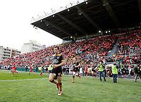 Photo: Richard Lane/Richard Lane Photography. RC Toulon v Wasps.  European Rugby Champions Cup Quarter Final. 05/04/2015. Wasps' Alex Lozowski runs out.