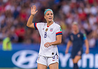 PARIS,  - JUNE 28: Julie Ertz #8 calls for the ball during a game between France and USWNT at Parc des Princes on June 28, 2019 in Paris, France.