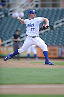 Liam Hendriks #32 of the Omaha Storm Chasers pitches against the Las Vegas 51s at Werner Park on August 17, 2014 in Omaha, Nebraska. The Storm Chasers  won 4-0.   (Dennis Hubbard/Four Seam Images)