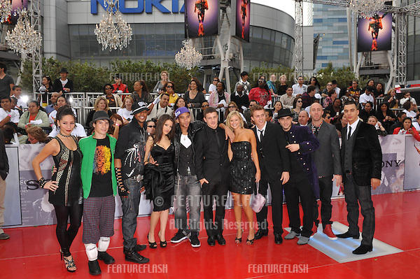 """Michael Jackson's dancers at the premiere of Michael Jackson's """"This Is It"""" at the Nokia Theatre, L.A. Live in downtown Los Angeles..October 27, 2009  Los Angeles, CA.Picture: Paul Smith / Featureflash"""