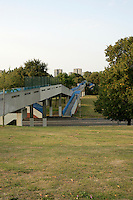 Footbridge over Abbey Road in Lesnes Abbey Park and part of the green chain walk, Abbey Wood, southeast London, UK