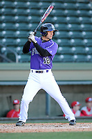 Catcher Paul Nitto (18) of the Furman Paladins hits in a game against the Miami (Ohio) Redhawks on Sunday, February 17, 2013, at Fluor Field at the West End in Greenville, South Carolina. Furman won, 6-5. (Tom Priddy/Four Seam Images)