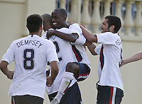 Clint Dempsey, Oguchi Onyewu, DaMarcus Beasley, and Benny Feilhaber celebrate. The USA defeated China, 4-1, in an international friendly at Spartan Stadium, San Jose, CA on June 2, 2007.