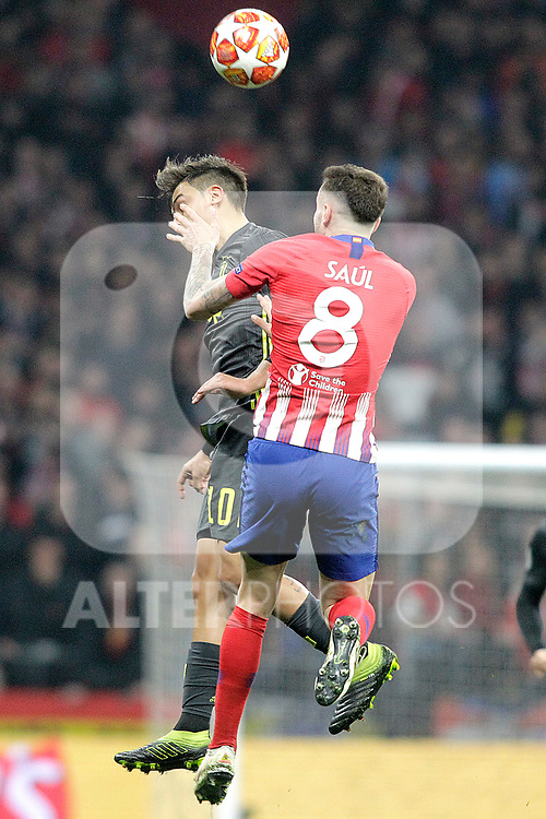 Atletico de Madrid's Saul Niguez and Juventus' Paulo Dybala during a UEFA Champions League match. Round of 16.  February, 20,2019. (ALTERPHOTOS/Alconada)
