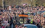 The horse drawn funeral cortege of the late Prodigy singer Keith Flint makes its way through the packed streets of Bocking,  Braintree, Essex today on route to  St Marys Church .