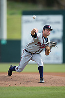 Rome Braves starting pitcher Bryse Wilson (52) in action against the Kannapolis Intimidators at Kannapolis Intimidators Stadium on April 12, 2017 in Kannapolis, North Carolina.  The Braves defeated the Intimidators 4-3.  (Brian Westerholt/Four Seam Images)
