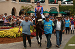 DEL MAR, CA  JULY 24: #9 Madone, ridden by Juan Hernandez, in the paddock before the San Clemente Stakes (Grade ll) on July 24, 2021 at Del Mar Thoroughbred Club in Del Mar, CA  (Photo by Casey Phillips/Eclipse lSportswire/CSM)