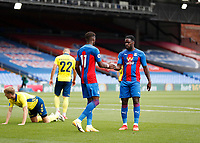 5th September 2020; Selhurst Park, London, England; Pre Season Friendly Football, Crystal Palace versus Brondby; Wilfried Zaha of Crystal Palace celebrates after scoring his sides 1st goal in the 33rd minute to make it 1-0 with Jeffrey Schlup of Crystal Palace