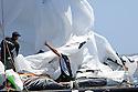 Louis Vuitton Trophy La Maddalena 1 giugno 2010. I francesi di Aleph ammainano lo spi al termine di una regata con Luna Rossa nelle ultime fasi del Round Robin